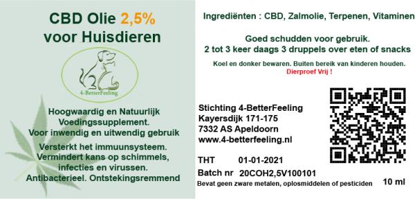 CBD (2,5%) met Zalmolie voor Huisdieren 10 ml